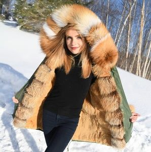 7c795a19 Jackets & Blazers - Parka with fox fur hood and trim and rabbit lining